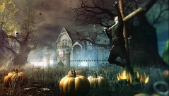 Don't Steal the Witch's Pumpkins! (Howl Dover) Tags: halloween secondlife haunted fashion pumpkins anduril indie casual fantasy streetdance vrsion