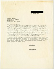 "Letter from Eva Moseley to Richard Cheney Re: ""Brilliant Pebbles"" (Cambridge Historical Commission) Tags: cambridge cambridgema cambma peaceaction nucleardisarmament sanefreeze lobbying brilliantpebbles"