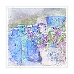 Summer still. (BirgittaSjostedt) Tags: pot still stilllife summer flower table paint texture beauty glass bottle birgittasjostedt texturetuesday vase painting