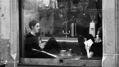 Milkman Cafe 02 (byronv2) Tags: milkmancafe cafe coffee cockburnstreet newtown edinburgh edimbourg scotland blackandwhite blackwhite bw monochrome candid street peoplewatching dusk sitting seated woman girl
