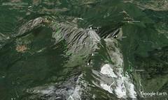 Google Earth 3D (vista S) (Emanuele Lotti) Tags: traccia quotata gps rifugio donegani foce giovetto sentiero attrezzato piotti ferrata lizzari cresta nattapiana zaccagna pizzo aquila