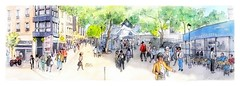 Paris - France - foule parisienne rue saint Martin (guymoll) Tags: googleearthstreetview croquis sketch paris france aquarelle watercolour watercolor personnages foule panoramique panoramic
