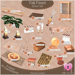 Fall Feast Gacha Key (Oriana Kuhr) Tags: dillydolls gacha gachagarden sl secondlife fall harvest autumn set decor furnishings furniture dining original mesh