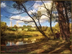Autumn day in Borovsk. (odinvadim) Tags: mytravelgram paintfx textured textures iphone editmaster travel iphoneography sunset evening iphoneonly church painterly artist snapseed landscape photofx specialist iphoneart graphic painterlymobileart