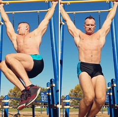 hanging abs (ddman_70) Tags: shirtless abs muscle workout shortshorts pecs