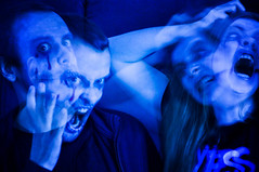 """Day 304/365 - """"Scary Stories"""" (Little_squirrel) Tags: 365the2017edition 3652017 day304365 31oct17 scarystories scary sick insane crazy disturbing demoninside demon evil halloween strange faces emotions ghost couple possessed blue onecolor fury fear portrait"""