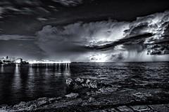 Cretan Storm (laurent_trinco) Tags: storm night nightscape bw ngc noiretblanc beauty weather noir blanc black white crete greece bulb