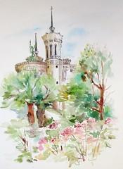 Fourvière vue du petit coin des hortensias (geneterre69) Tags: fourvière arbres aquarelle watercolor basilique lyon
