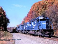 CR 6376 6381 e, Penn, PA. 10-18-1994 (jackdk) Tags: train railroad railway cr conrail emd emdsd40 emdsd402 sd40 sd402 helper helpers coal coaltrain coaldrag pittsburghmainline fall fallcolor prr pennsy penn pennpa
