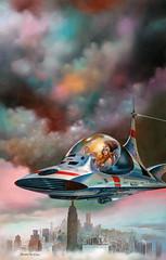 Celestial Cab by Boris Vallejo, 1981 (Tom Simpson) Tags: borisvallejo painting art illustration scifi sciencefiction 1980s celestialcab 1981 newyork newyorkcity empirestatebuilding cab flyingcar