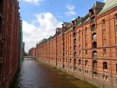 The Speicherstadt district of Hamburg (Sokleine) Tags: speicherstadt warehouses docks redbrick briques unescoworldheritage unesco canaux canals harbour port hafen hamburg hambourg deutschland germany allemagne