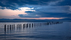 Hour of blue (Christie : Colour & Light Collection) Tags: hour bluehour pointroberts usa canada bc dock history clouds stormy straitofgeorgia whatcomcounty washington seashore shore mountains seaguls birds