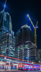 park towers at 28 of 43 (pbo31) Tags: bayarea california nikon d810 color black dark night october 2017 boury pbo31 sanfrancisco city urban lightstream motion traffic roadway financialdistrictsouth bus construction crane parktower howardstreet panoramic large stitched panorama muni vertical blue