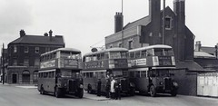 "c1937 - Looks like Summer – London Transport STLs.  2 ""Leaning Back"", 1 ""Standard"" on far right. Mitcham Cricketers Public House. (RTW501) Tags: cricketerspub aec regent londontransport route152 stl1295 byn920 39stl11 route88 stl356 axm633 6stl3 route77 stl452 ayv606 7stl32 mitcham leaningbackstl"