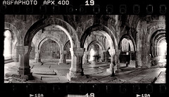 Arched (tsiklonaut) Tags: horizon 202 panorama panoramic pano panoraam black white negro y blanco mustvalge mv ethol ufg agfa apx 400 sanahin armenia armeenia klooster arc architecture ancient old 10th century rock support column columns sambad kaared travel discover experience christian christianity religious arhitektuur drum scan drumscan scanner pmt photomultipliertube