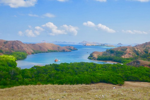 After seeing the Komodo dragons, we enjoyed a little hike and this great view.  Rinca island. Komodo islands. Indonesia  Sept 2017 #itravelanddance