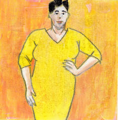 # 178 2017-10-16 (h e r m a n) Tags: herman illustratie tekening 10x10cm tegeltje drawing illustration karton carton cardboard kunst art geel yellow jurkje jurk vrouw woman yellowdress gelejurk