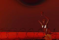 Dissected soul / Artist : Theda Tammas (Bamboo Barnes - Artist.Com) Tags: thedatammas art installation dissectedsoul lea surreal dark wire humanfigure red black light shadow photo painting digitalart virtualart reflection emotion bamboobarnes gold splitscreen