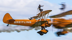 Boeing Stearman. N74189. (Nigel Paine) Tags: oldwarden shuttleworth canon7dmkii ef300f28l biplane wingwalker breitling panning panningshot