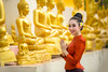 Asian woman to pay respect to Buddha statue in thailand. (Pramote Polyamate) Tags: asia asian ayuthaya bangkok chiang chiangmai culture festival fun girls hailand hinduism khon kuan laos mai post ramayana religion show siam smile songkran sukhothai thai thailand traditional vientiane lanna ancient beautiful songkranfestival 2017 myanmar cambodia buddhastatue woman