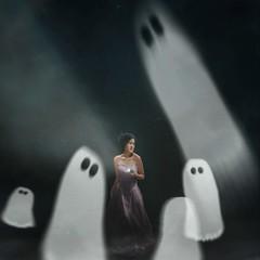 444 Haunted (Katrina Yu) Tags: selfportrait ghosts illustration 2017 365project woman creepy mood halloween art fantasy dream conceptual creative artistic photoshop manipulation