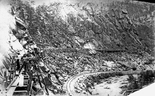 Photo - Silver Lake Ditch flume construction (c. 1888).