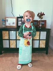 Landon asked for his photo to be taken in his new apron!