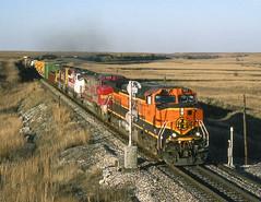 Cassoday KS Thursday October 28th 1999 1715CDT (Hoopy2342) Tags: train rail railway railroad bnsf burlingtonnorthernsantafe flinthills cassoday kansas kan ks