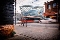 Art in Motion (Paul Flynn (Toronto)) Tags: art gallery ontario ago toronto streetcar ttc transit commission traffic long exposure car village idiot pub frank gehry architecture dundas mcaul motion blur