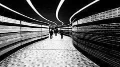 Square Victoria OACI Metro Corridor (MassiveKontent) Tags: montreal bw urban black white monochrome city quebec montréal subway