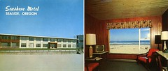 New Seashore Motel, Seaside, Oregon (SwellMap) Tags: postcard vintage retro pc chrome 50s 60s sixties fifties roadside midcentury populuxe atomicage nostalgia americana advertising coldwar suburbia consumer babyboomer kitsch spaceage design style googie architecture motel interior motelroom hotelroom motorlodge bed bedroom tv