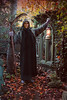 Halloween role playing (Rich Saunders) Tags: halloween allhallowseve scary gothick gothic horror autumn fall leaves church chapel fairy faery dressingup roleplay roleplaying grimreaper scythe lamp tilleylamp mystery imagination