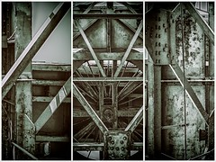 Urban Geometry Tryptych (Blues Views) Tags: triptych rail traction monochrome crane bw toned filmeffects port thessalonikigreece thessalonikiport olympusep3 sigma19mmf28dn urban geometric geometry