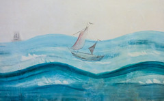 Sailing the High Seas (Steve Taylor (Photography)) Tags: art painting mural blue white pink uk gb england greatbritain unitedkingdom london texture boat ship sail eltham elthampalace dinghy schooner sea ocean waves