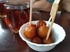 Baklava and tea (Ruth and Dave) Tags: cazba persian restaurant daviestreet westend vancouver dessert sweet honey pastry baklava balls sticky bowl tea cup