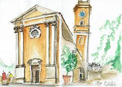 Eze, l'église perchée là-haut (Croctoo) Tags: croctoo croctoofr croquis aquarelle eze côtedazur frenchriviera église