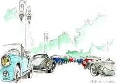 Classic race, ... sur la Grande Corniche (Croctoo) Tags: auto autoancienne croctoo croctoofr croquis aquarelle watercolor classics race