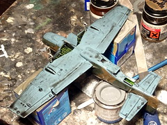 1:72 North American P-51C Mustang III; 'AN-Q/FZ450 'of the South African Air Force 1 Squadron; Forli-Cesena, Emilia-Romagna/Northern Italy, mid 1944 (Whif/Academy kit) - WiP (dizzyfugu) Tags: 172 north american p51 mustang iii saaf south afcrican air force italy 1944 temperate land scheme dark green earth mediterranean blue mto colorful yellow id stripe fictional aviation whif whatif academy kit modellbau dizzyfugu