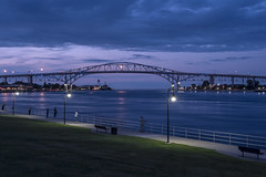 Blue Water Bridge (DJ Wolfman) Tags: bluewaterbridge blue water michigan porthuron canada lights night clouds olympus olympusomd 14150mm zuiko micro43 zd stclairriver