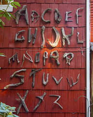 Driftwood Alphabet (wplynn) Tags: coppercreekinn mtrainiernationalpark washington state restaurant inn mtrainier art alphabet wood driftwood