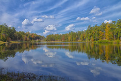 A Sunny Fall Reflection (Thomas Vasas Photography) Tags: nature landscapes scenics travel fall seasons colors reflections clouds weather trees bushes lakes ponds water flatrockpark columbus georgia