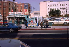 Wilshire and Bixel Street (jericl cat) Tags: losangeles candid car wash wilshire bixel street petes grand burger carwash telephone booth cocacola sign hotel neon allright parking lot auto wellman apartments apts bus stop olympic 1970s