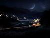 月光下的望古 (何神) Tags: taiwan night light blue moon star galaxy fujifilm photoshop 平溪 十分 望古 望古車站 風景 攝影 鐵路 火車 合成 疊圖