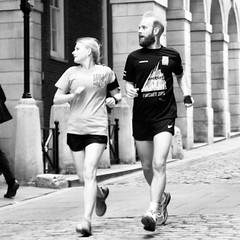 Day 290. Eyes right. (Rob Emes) Tags: roadrunners pair couple runners running bw black square urban street london city g7xii canon mono 3652017 365 oct2017