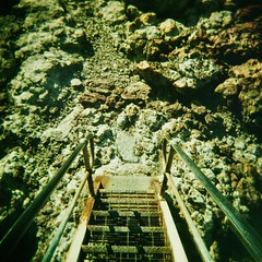 Rockpool stairs (sonofwalrus) Tags: holga film lomo lomography scan xpro xprocessing crossprocessing crossprocessed moonta southaustralia australia moontabay stairs jetty rockpool