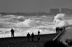 Wave Watchers (G Reeves) Tags: twop nikon nikond810 garyreeves seafront beach sea waves water outside outdoor landscapes landscape rottingdean eastsussex brighton undercliff storm bw blackwhite blackandwhite monochrome coast
