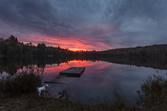 Sunset (Gumball Photography) Tags: sunset ontario canada clouds jackrussellterrier dock lake water nature fall autumn