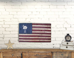American Flag with South Carolina Palmetto Tree Rustic Wall Art (Bonnie Cameron) Tags: brick wall usa southcarolina palmetto palm tree cedar red white blue navy star rustic farmhouse decor box chest planks shabby clock crescent moon flag state america charleston greenville columbia beach coastal