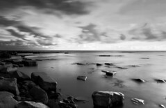 Kimmeridge Beach B&W (www.davidrosenphotography.com) Tags: bw beach sea seascape travel rocks clouds longexposure dorset kimmeridge coast blackwhite