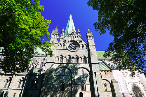 North facade of Nidaros Cathedral, Trondheim, Norway
